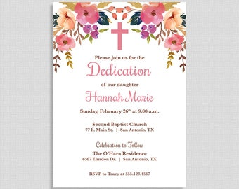 Baby Dedication Invitation,  Baby Girl Baptism Invite, Christening Invite, Boho, Watercolor Floral, DIY PRINTABLE