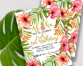 Aloha Pineapple Watercolor Invitation Front and Backside designs- Digital File Only