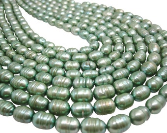 Freshwater Pearl Beads,  Sage Green Pearls, Potato Shape, SKU 4668