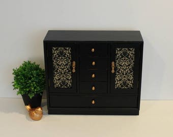 Vintage Jewelry Box, Armoire Jewelry Box, Painted Jewelry Box, Black Jewelry Box, Gift for Her, Gift for Teen, Gift for Him