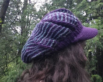 Slouchy Newsboy Cap - Knitting Pattern - PDF Download - Hand Knitting - Snazzy Hat - DIY Cute Cap