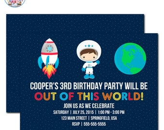 Planet Birthday Invitation Outer Space Birthday Planets