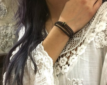 Suede Wrap bracelet, beaded bracelet, Minimalist bracelet, Brown suede bracelet, choker, boho bracelet, rustic bracelet, layered - AFN 122