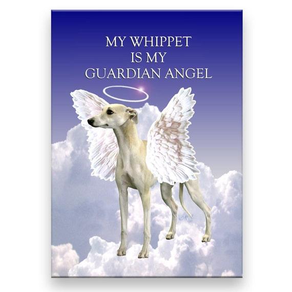 Whippet Guardian Angel Pet Loss Fridge Magnet