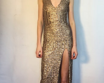 Gold Sequined Occasion Dress