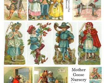 MOTHER GOOSE digital collage sheet vintage images nursery rhymes fairy tales storybook children Victorian pictures crafts printable DOWNLOAD
