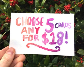 Choose 5 cards; Greeting Card Bundle