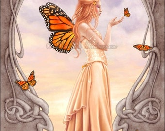 Citrine Birthstone Fairy Fine Art Print - Art Nouveau butterfly fairy art monarch art