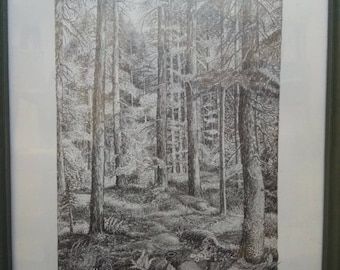 Pencil Graphic: Landscape, original work, fanrasy, meditation