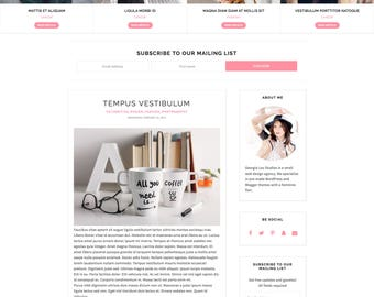 "Blogger Template Responsive - Simple - Minimal - Customizable - ""Felicity"" - with Slider and Drop Down, Blog Template, Instant Download"