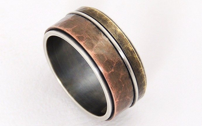 Rustic mixed metal men ring wide band ringsilver copper