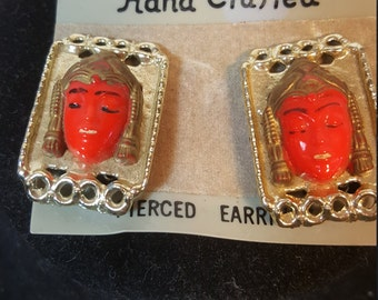 FREE  SHIPPING   Vintage Asian Clip Earrings