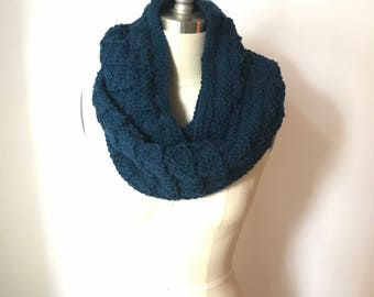 Infinity Scarf, Knit, Wraps Once ~in Midnight Blue ~ (Ready to Ship)