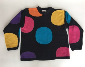 80's Vintage Sweater bright dots size small