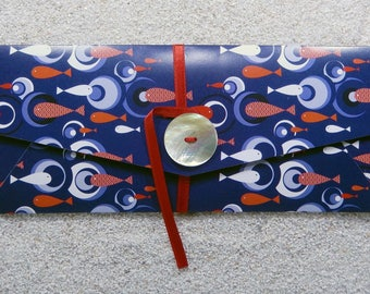 """Printed gift bags, lock by a ribbon and a mother-of-pearl button- Design «swimming Fishes """" navy blue"""