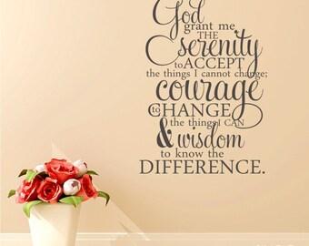 Serenity Prayer Wall Decal Quote  - Vinyl Word Art Custom Home Decor
