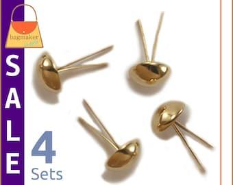 On Sale : 14 mm Purse Feet Handbag Bottom Studs, Gold Finish, 4 Feet, Purse Bag Making Supplies Hardware, PFT-AA012