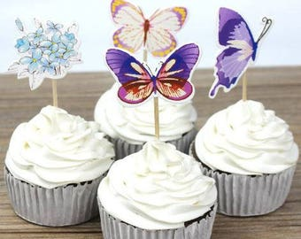 READY TO SHIP Butterfly Themed Cupcake Toppers, Flower, Toppers, Picks, Cake Toppers, Cake Topper Pick, Cupcake Picks, Birthday, Baby