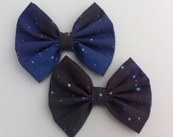 Galaxy Hair Bow Medium Sized, Space, Nebula, Stars, Celestial