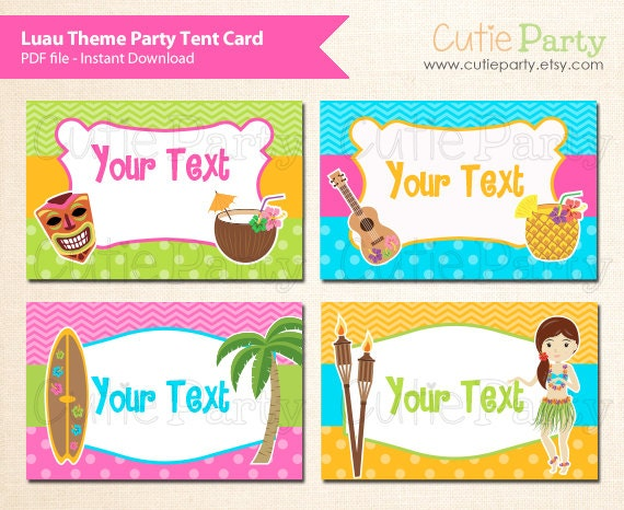 Tropical Themed Party Ideas Free Printables: Luau Theme Party Editable Party Printable Hawaii Party Tent