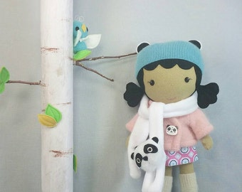 """Handcrafted STUDIO DOLL 15"""" - Girl in the Jacket with Panda Scarf. Handmade, Doll, Girl, Toy, Plush, Children, Gift"""