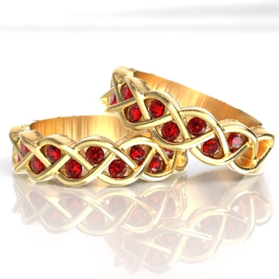 Celtic Wedding Band Set Ruby Stone With Braided Knot Design in 10K 14K 18K Gold, Palladium or Platinum, Made in Your Size CR-1005
