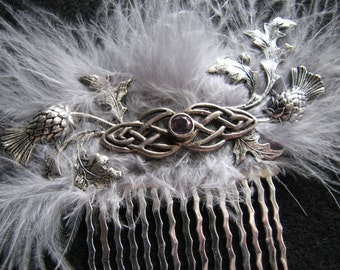 Celtic hair | silver knot | thistle  | Scottish wedding | amethyst | silver gray | flower hair comb