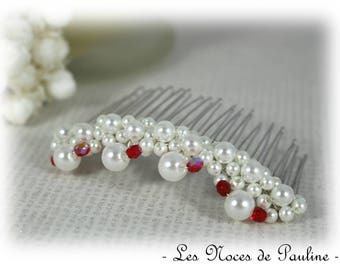 Red white wedding pearls silver hair comb
