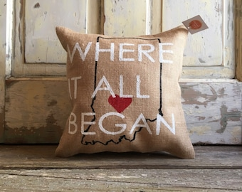 Burlap Pillow - Where It All Began pillow | Customize your City, State | Christmas Gift for her | Gift for him | Wedding, Anniversary Gift