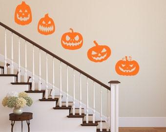Halloween Decor Pumpkins Vinyl Wall Decal Pumpkins Package Of 5 Halloween Party Decor Pumpkins