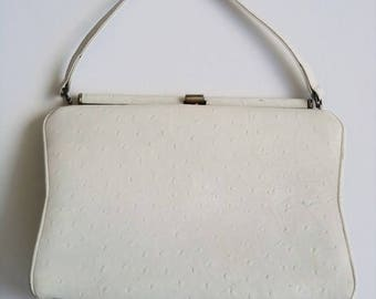 Vintage 60's Handbag Purse Kelly Bag in Off White Ostrich Embossed Leather