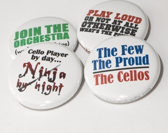 Funny Cello Buttons or Magnets - Cello Ninja and 3 more music and orchestra designs - size one inch - CEL 2