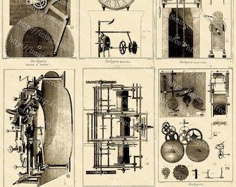 Printable Steampunk Clockwork Gears, Digital Collage Sheet,  Instant Download