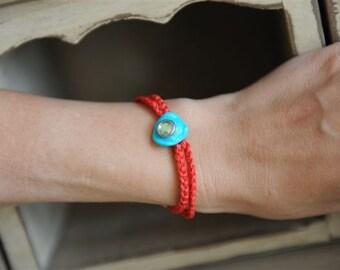 Orange bracelet lucky eye charm turquoise turkey cameo Alad kabbalah evil protector