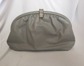 Vintage, Gray Leather Clutch, Fun snap closure, 1970s.