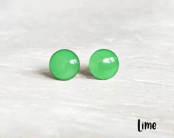 Lime green Stud earrings, Green earrings, Green post earrings, Nickel free earrings, Green studs by Ear Sugar earrings, EarSugar