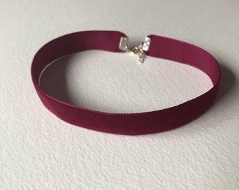 Handmade wine red maroon choker necklace