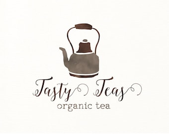 tea logo tea pot watercolor premade logo teapot - Logo Design #329