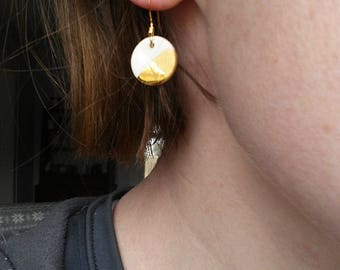 Small gold dipped porcelain earrings (shiny/matte)
