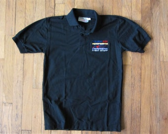 Vintage 90s Molson Indy Vancouver Official EVENT STAFF Polo Shirt Black Medium with Collar Cart Racing at Concord Pacific Place