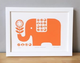 Elephant Screen Print, Elephant and Flower Print, Retro 70s Screen Print, Pink Elephant, Orange Elephant, Scandinavian Screen Print