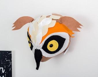 Owl, nursery wall art, kids room decor, owl head, faux taxidermy, woodland nursery, woodland decor, animal mount, kids decor, felt owl head