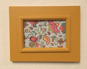 Picture Frame Upcycled Handpainted Yellow , 4x6 Photo Frame , Farmhouse Decor , Kitchen Decor , Distressed Frame