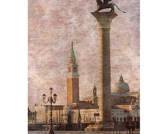Fine Art Color Travel Photography of Venice Italy - Textured Print of View Across Piazza San Marco
