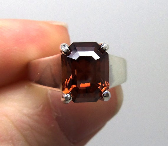 5.25 Carat Burnt Orange Zircon Gemstone Ring Size 7 Sterling Silver Hand Cut Gem