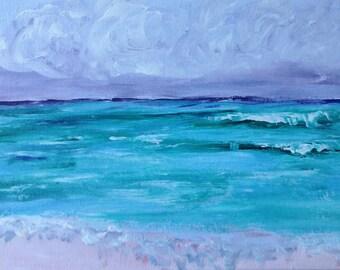 "Ocean painting, ""sea glass beach"" sea art , 9x12,"