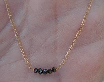 0.50 Half Carat Rose Cut Black Diamonds on a 14K Yellow Gold Chain