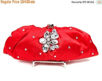 SALE SALE Bridal Clutch, Red Satin Crystal Bridal Clutch, Red Wedding Purse, Bridesmaid Clutch, Red Satin Crystal Evening Bag