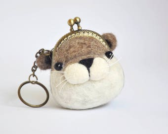 Otter Coin Purse, Otter Gift, Wet Felted Kiss Lock Wallet, Animal Wallet, Animal Lover Gift