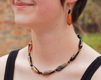 Black Orange Agate Necklace - Agate Choker - Black Crystal Necklace - Black Gold Necklace - Black Gold Choker - Black Agate Necklace